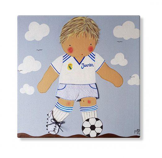 cuadros infantiles personalizados con nombre artesanales lienzos decoracion regalos bebes niños niñas blaucasa futbol real madrid