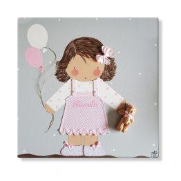 cuadros infantiles personalizados con nombre artesanales lienzos decoracion regalos bebes niños niñas blaucasa globos