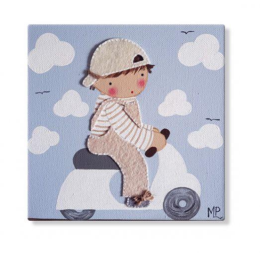 cuadros infantiles personalizados con nombre artesanales lienzos decoracion regalos bebes niños niñas blaucasa moto vespa