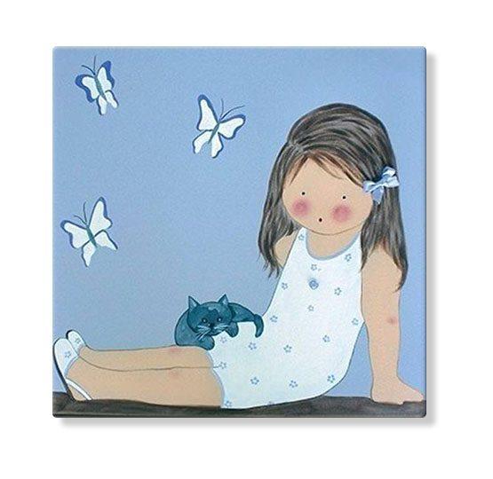 cuadros infantiles niña mariposas personalizados con nombre artesanales lienzos decoracion regalos bebes ninos ninas blaucasa