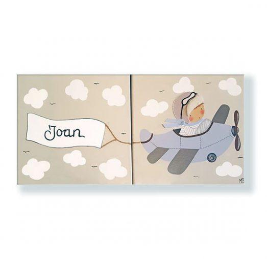 cuadros infantiles personalizados con nombre artesanales lienzos decoracion regalos bebes niños niñas blaucasa avion duo