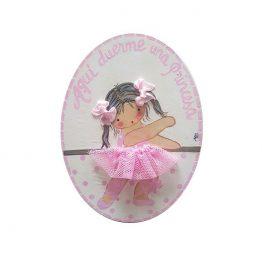 placa para puerta niña con nombre bailarina
