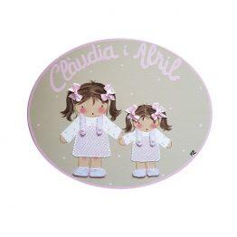 placa para puerta niña con nombre hermanas beige