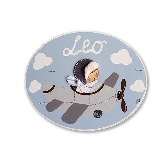 placa para puerta niño avión con nombre