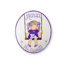 placas para puertas infantiles personalizadas con nombre bebe decorativa artesanal nina nino regalos originales columpio
