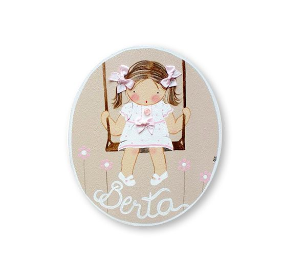 placas para puertas intantiles personalizadas con nombre bebe decorativa artesanal nina nino regalos originales columpio