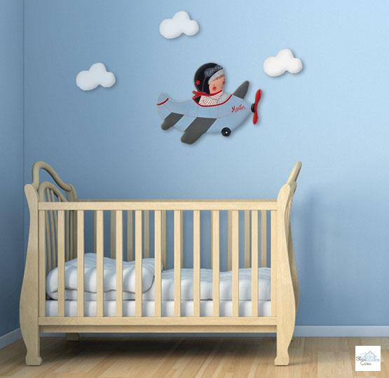 decoracion habitacion infantil pared nina nino bebe artesanal personalizada siluetas avion