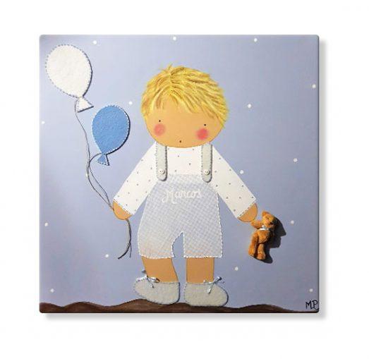 cuadros infantiles personalizados con nombre para niño con globos, originales y artesanales lienzos decoracion regalos bebes niños niñas