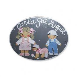 placas para puertas infantiles personalizadas con nombre bebe decorativa artesanal nina nino regalos originales 3 hermanos