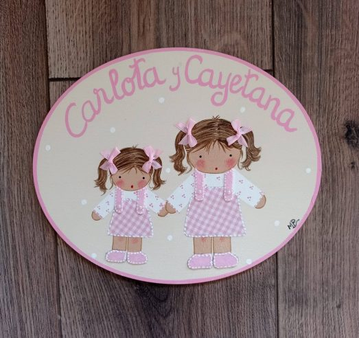 placa decorativa para puertas niñas con nombre