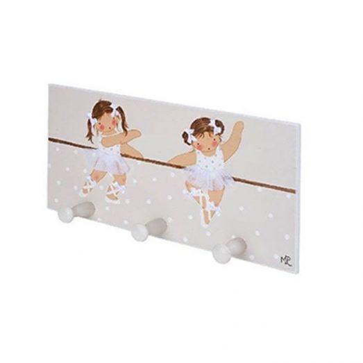Perchero infantil pared de madera bailarinas