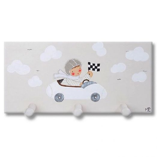 Perchero infantil pared de madera coche piloto