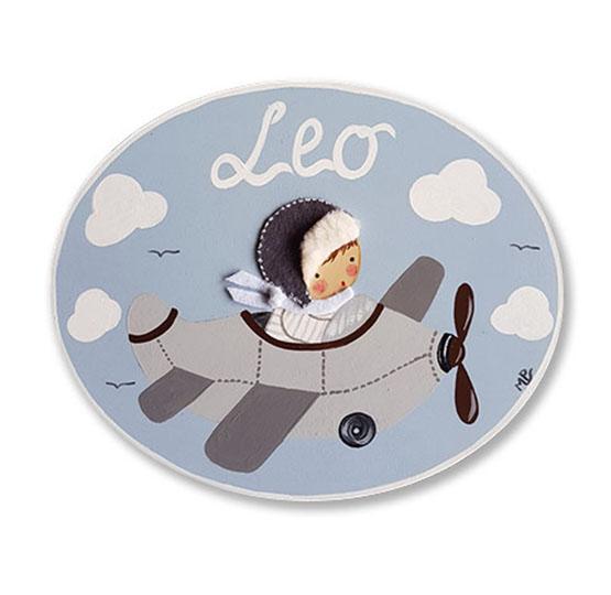 placa para puerta avión habitación infantil