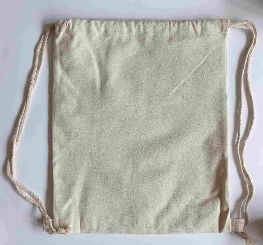 mochila saco infantil de tela algodón reverso sin relleno