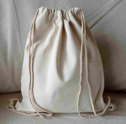 mochila saco infantil de tela algodón reverso